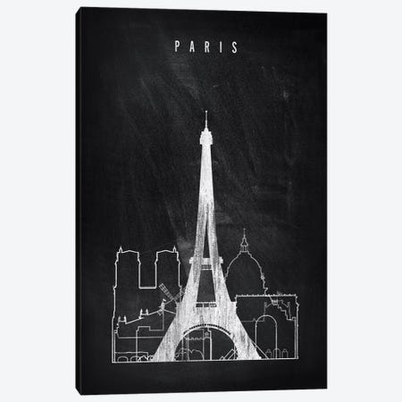Paris Chalkboard Canvas Print #APV75} by ArtPrintsVicky Canvas Artwork
