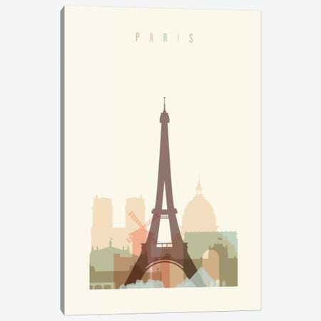 Paris Pastels in Cream Canvas Print #APV76} by ArtPrintsVicky Canvas Art