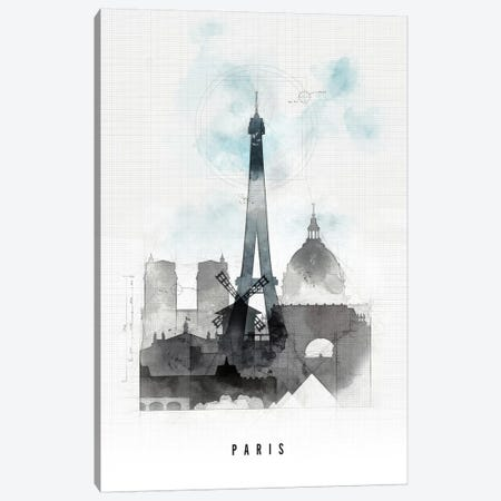 Paris Urban Canvas Print #APV77} by ArtPrintsVicky Canvas Wall Art