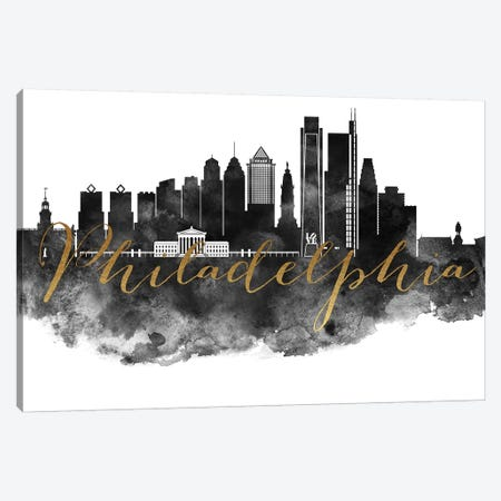 Philadelphia in Black & White Canvas Print #APV78} by ArtPrintsVicky Canvas Print