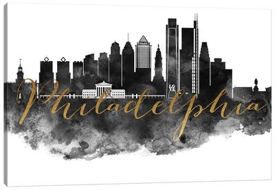 Philadelphia in Black & White Canvas Art Print