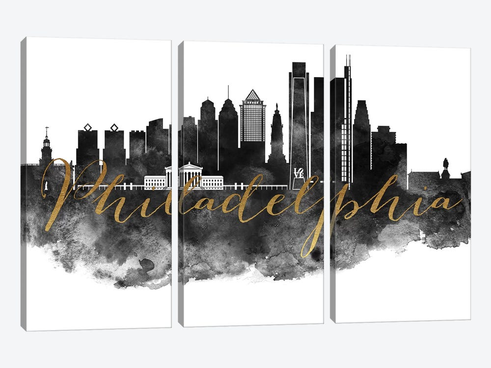 Philadelphia in Black & White by ArtPrintsVicky 3-piece Canvas Wall Art