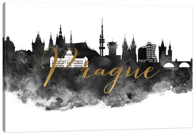 Prague in Black & White Canvas Art Print