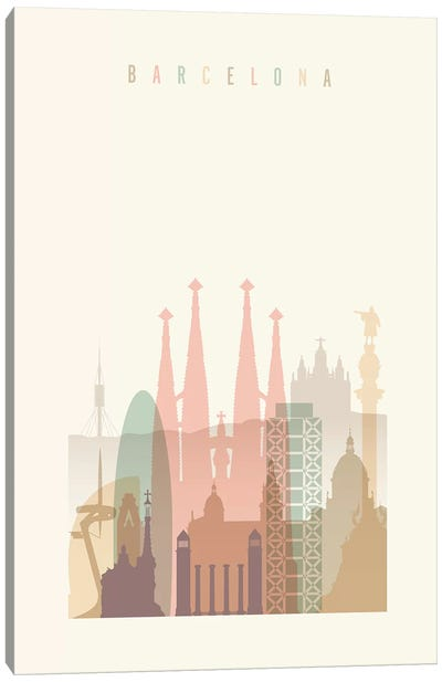 Barcelona Pastels in Cream Canvas Art Print