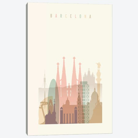 Barcelona Pastels in Cream 3-Piece Canvas #APV7} by ArtPrintsVicky Canvas Artwork