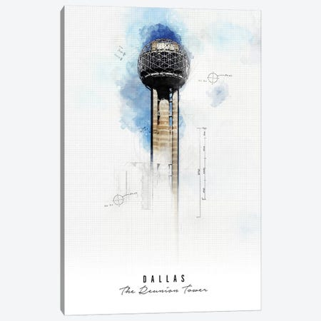 Reunion Tower - Dallas Canvas Print #APV81} by ArtPrintsVicky Canvas Wall Art