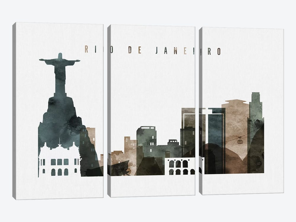 Rio De Janeiro Watercolor by ArtPrintsVicky 3-piece Canvas Art Print