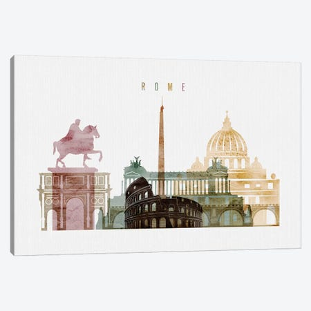 Rome Watercolor I Canvas Print #APV84} by ArtPrintsVicky Canvas Art Print