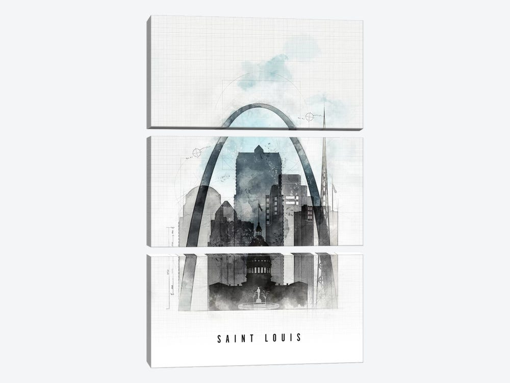 Saint Louis Urban by ArtPrintsVicky 3-piece Canvas Print