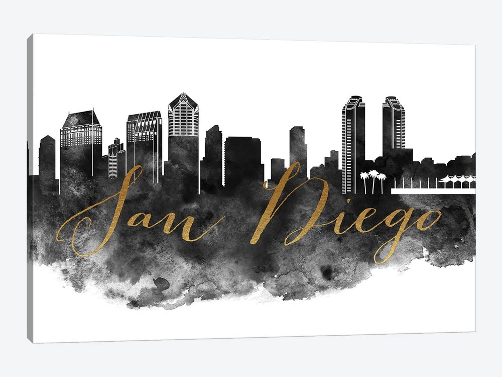 San Diego in Black & White 1-piece Canvas Artwork