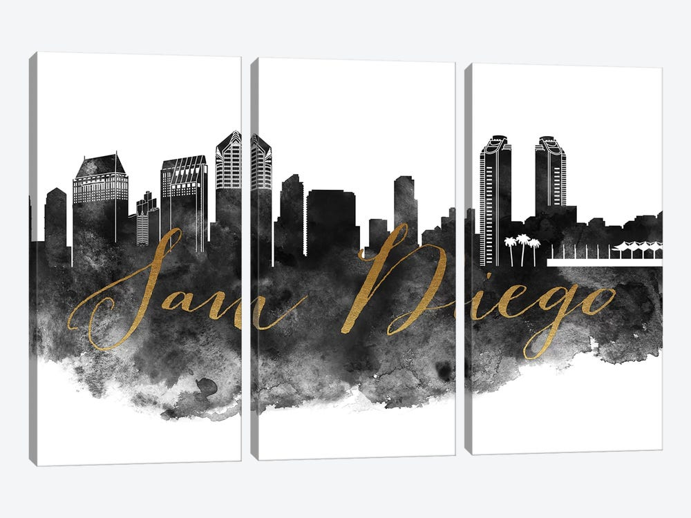 San Diego in Black & White by ArtPrintsVicky 3-piece Canvas Art