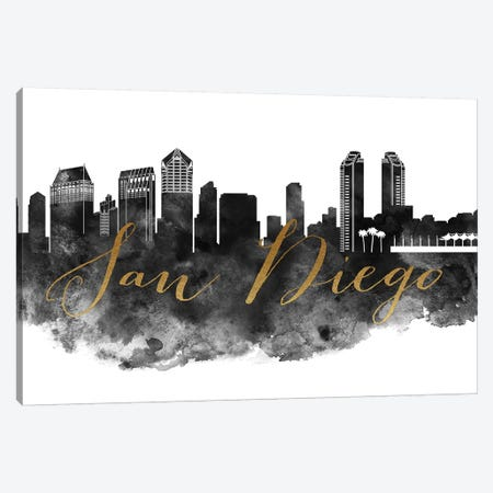 San Diego in Black & White Canvas Print #APV89} by ArtPrintsVicky Canvas Artwork