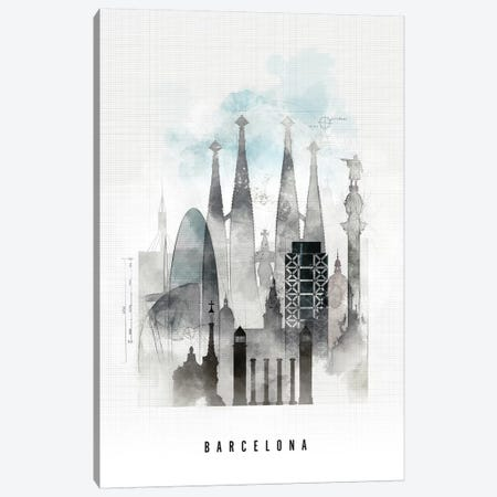 Barcelona Urban Canvas Print #APV8} by ArtPrintsVicky Art Print