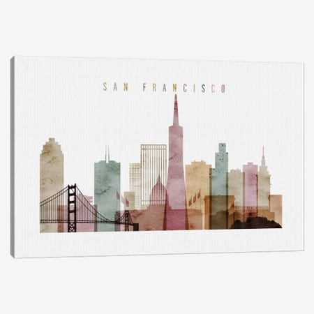 San Francisco Watercolor I Canvas Print #APV91} by ArtPrintsVicky Art Print