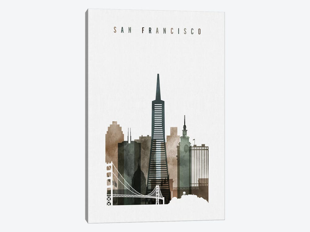 San Francisco Watercolor II by ArtPrintsVicky 1-piece Canvas Art
