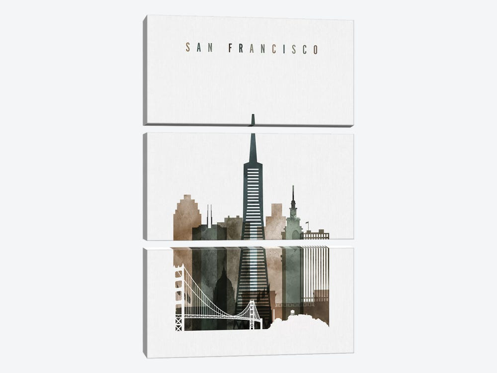 San Francisco Watercolor II by ArtPrintsVicky 3-piece Canvas Art