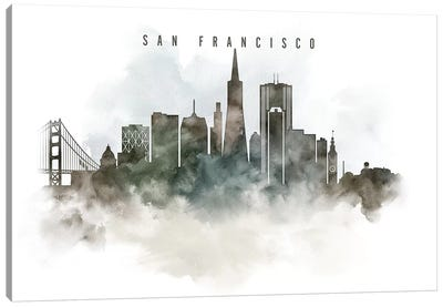 San Francisco Watercolor Cityscape Canvas Art Print