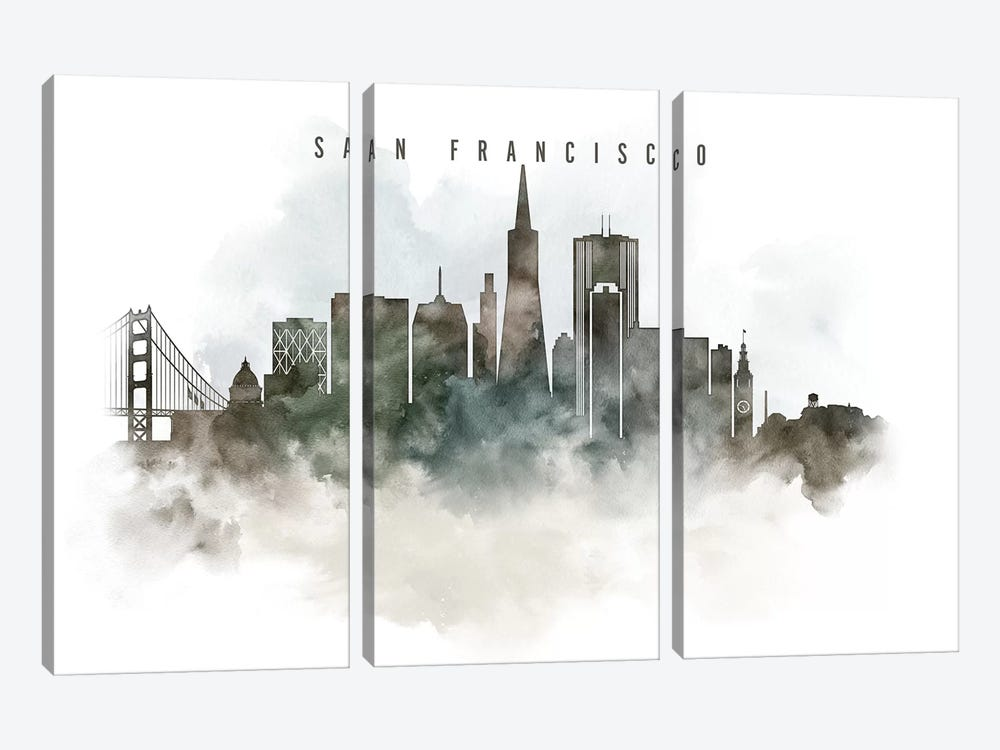 San Francisco Watercolor Cityscape by ArtPrintsVicky 3-piece Art Print