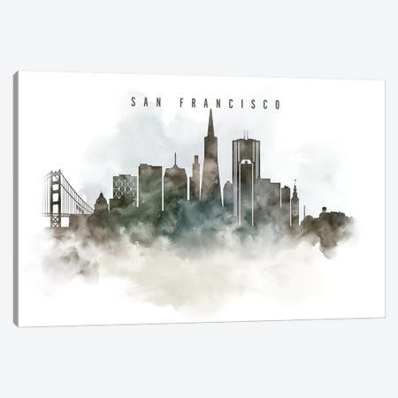 San Francisco Watercolor Cityscape Canvas Print #APV93} by ArtPrintsVicky Canvas Print