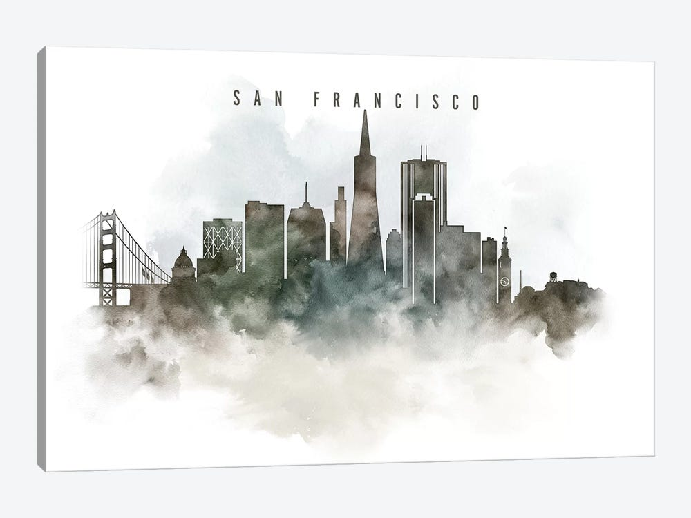 San Francisco Watercolor Cityscape by ArtPrintsVicky 1-piece Canvas Art Print