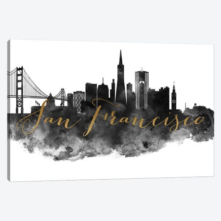 San Francisco in Black & White Canvas Print #APV94} by ArtPrintsVicky Canvas Art