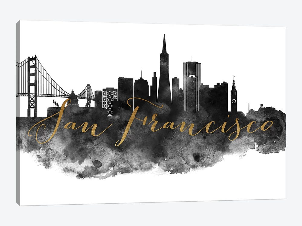San Francisco in Black & White by ArtPrintsVicky 1-piece Canvas Art