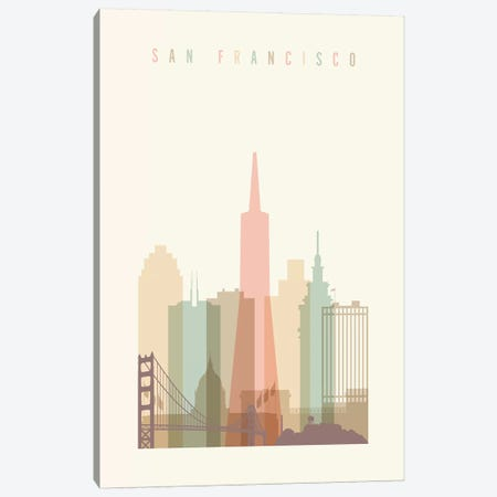 San Francisco Pastels in Cream Canvas Print #APV95} by ArtPrintsVicky Canvas Art