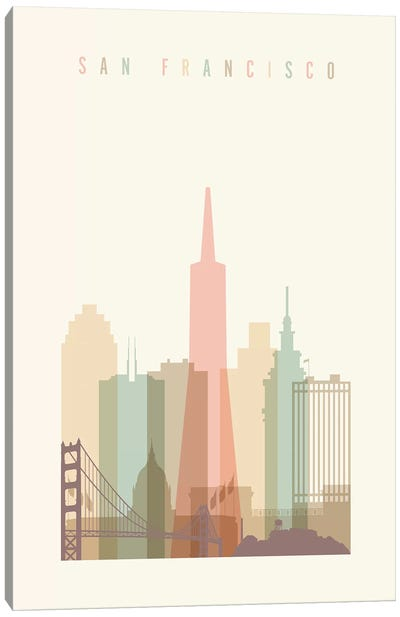 San Francisco Pastels in Cream Canvas Art Print