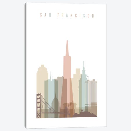San Francisco Pastels in White Canvas Print #APV96} by ArtPrintsVicky Canvas Artwork