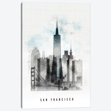 San Francisco Urban Canvas Print #APV97} by ArtPrintsVicky Canvas Wall Art