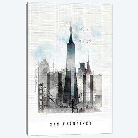 San Francisco Urban Canvas Print #APV97} by ArtPrintsVicky Canvas Wall Art