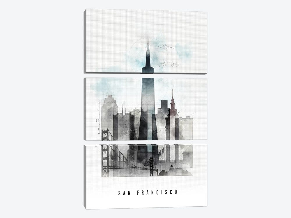 San Francisco Urban by ArtPrintsVicky 3-piece Canvas Art Print