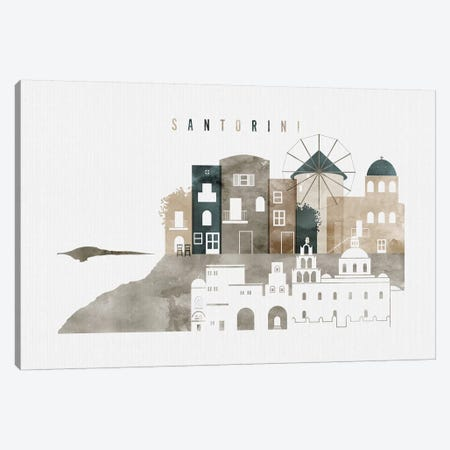 Santorini Watercolor Canvas Print #APV98} by ArtPrintsVicky Canvas Art Print
