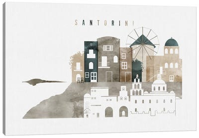 Santorini Watercolor Canvas Art Print
