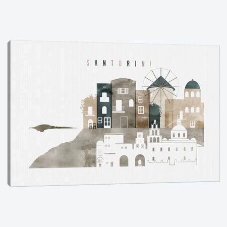 Santorini Watercolor Canvas Print #APV98} by ArtPrintsVicky Canvas Art Print