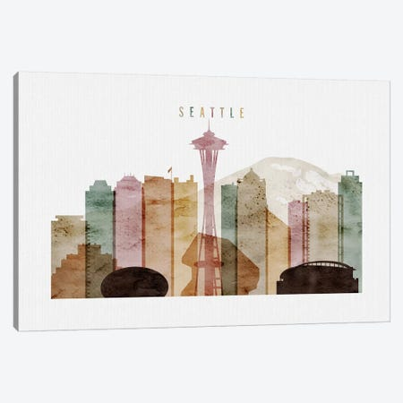 Seattle Watercolor Canvas Print #APV99} by ArtPrintsVicky Canvas Print