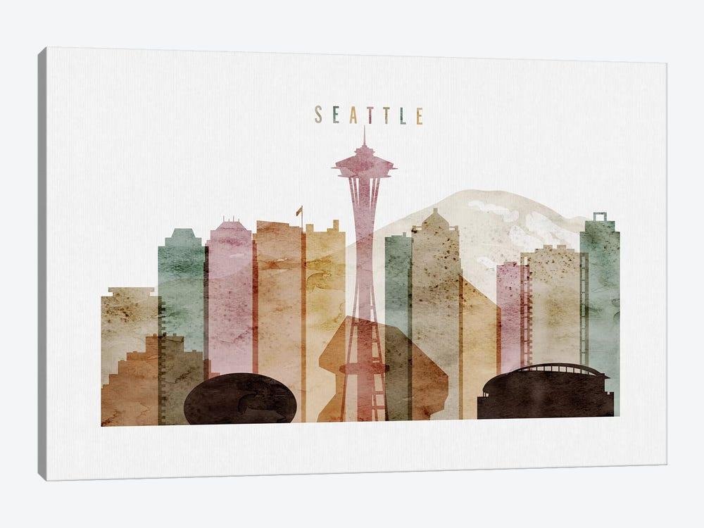 Seattle Watercolor by ArtPrintsVicky 1-piece Canvas Art Print