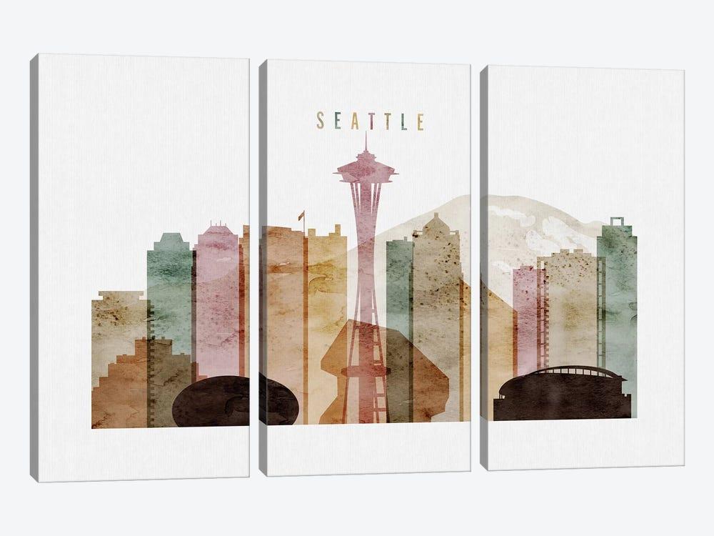 Seattle Watercolor by ArtPrintsVicky 3-piece Canvas Print