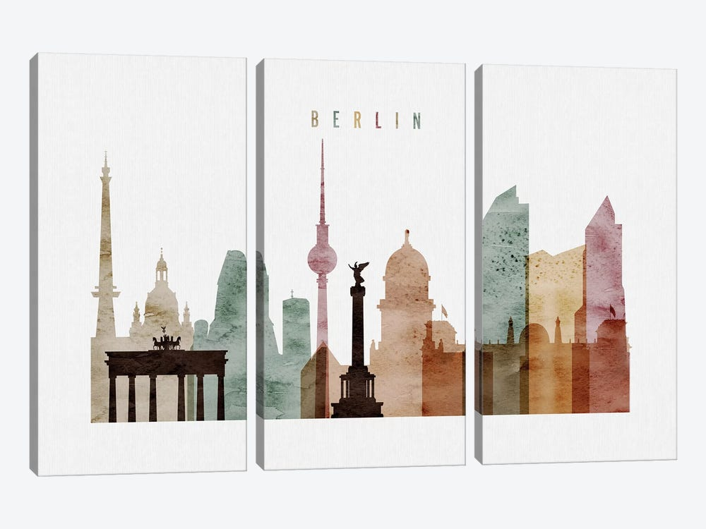Berlin Watercolor by ArtPrintsVicky 3-piece Canvas Print