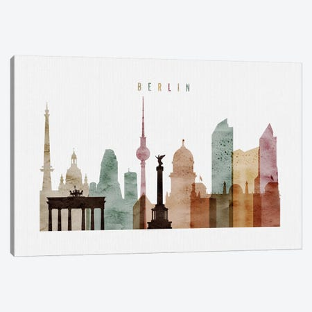 Berlin Watercolor 3-Piece Canvas #APV9} by ArtPrintsVicky Canvas Art Print