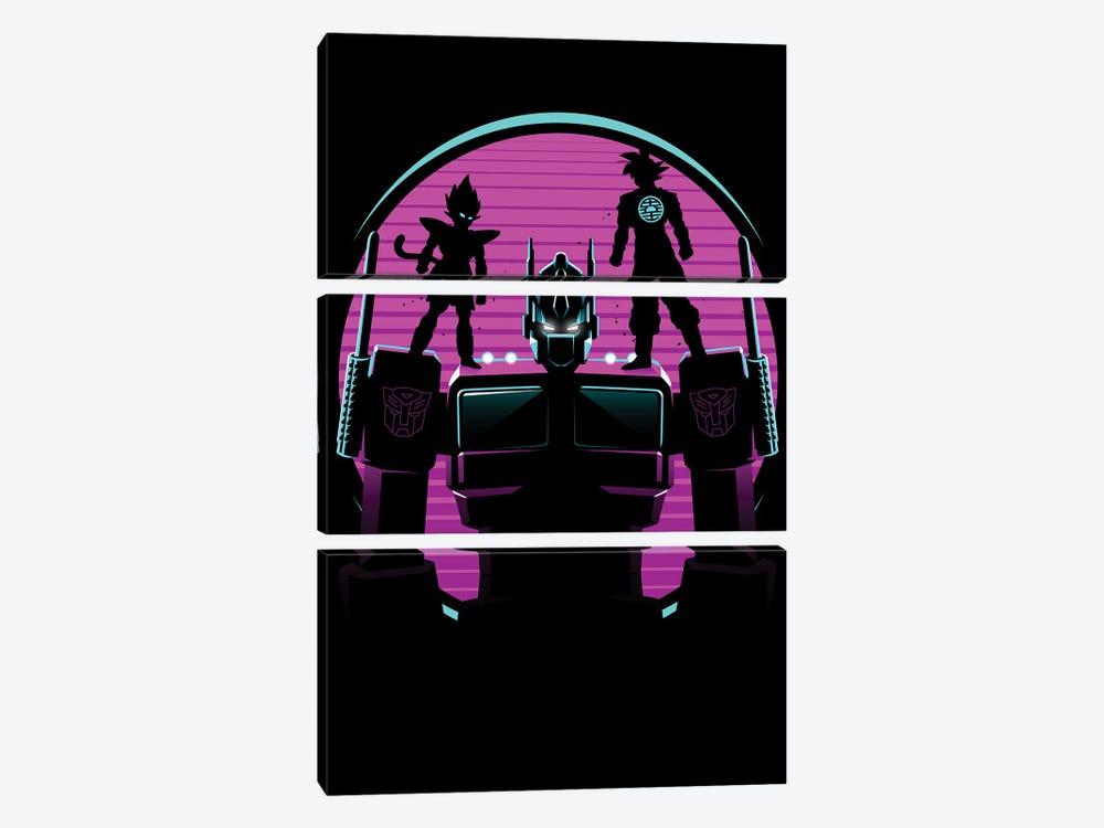 Retro Optimus warriors by Alberto Perez 3-piece Canvas Artwork