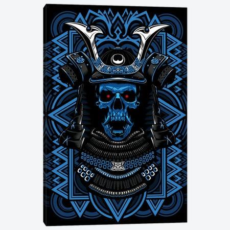 Samurai Blue Skull Canvas Print #APZ116} by Alberto Perez Canvas Artwork