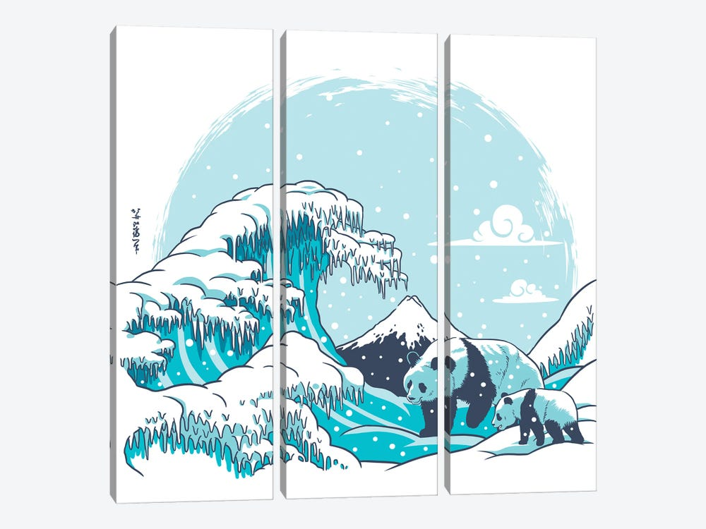 Polar Wave Panda by Alberto Perez 3-piece Canvas Artwork