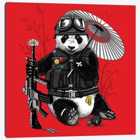 Panda Biker Canvas Print #APZ121} by Alberto Perez Canvas Wall Art