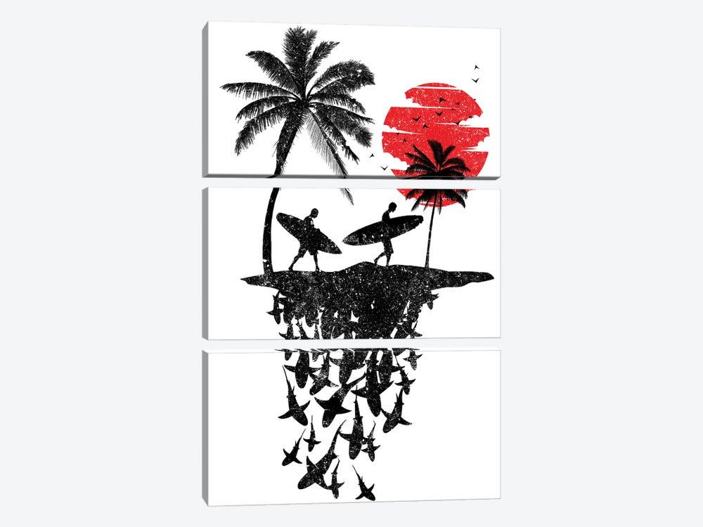 Surf island Sharks by Alberto Perez 3-piece Canvas Art