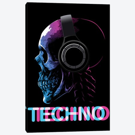 Techno Skull Canvas Print #APZ150} by Alberto Perez Canvas Print