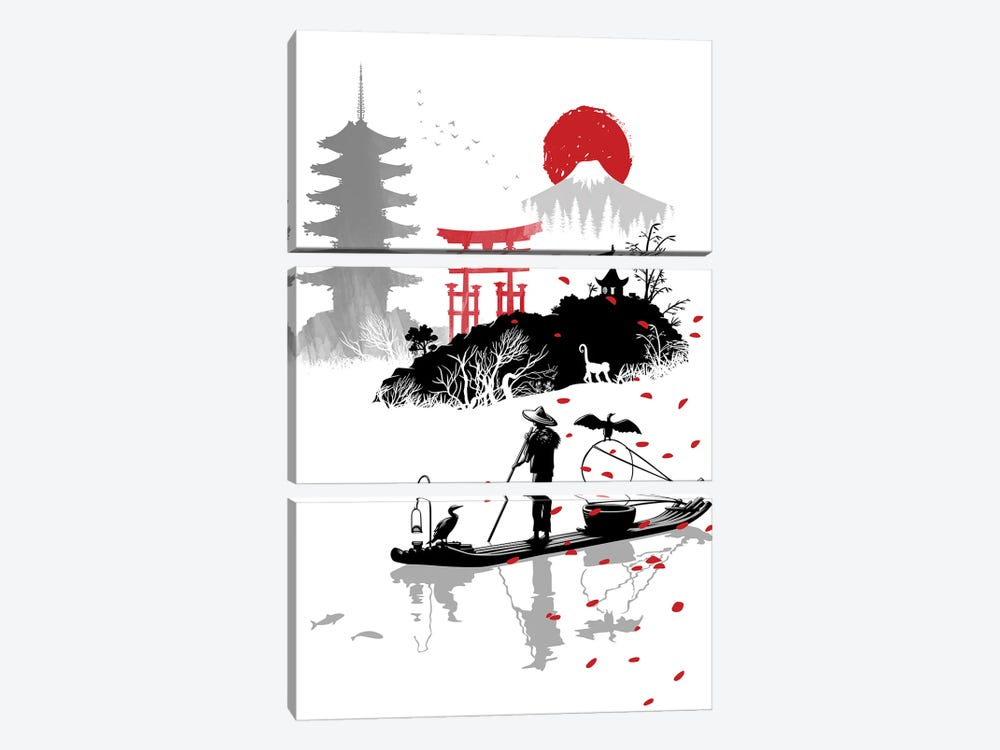fisherman in japan by Alberto Perez 3-piece Art Print