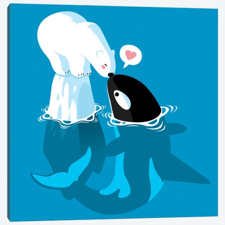 Polar and Killer Whale Canvas Print #APZ164} by Alberto Perez Canvas Print