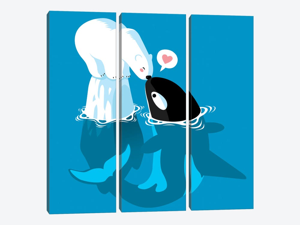 Polar and Killer Whale by Alberto Perez 3-piece Canvas Art