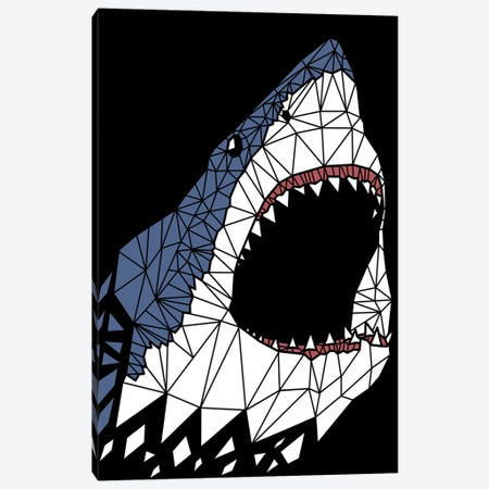 Geometric Great Shark Canvas Print #APZ169} by Alberto Perez Canvas Artwork